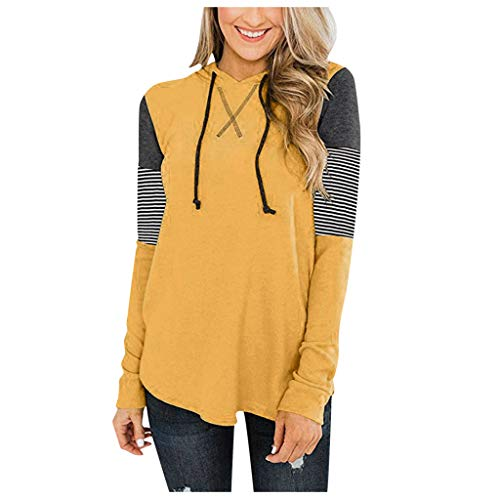 Women Hooide Long Sleeve Sweatshirt Patchwork t shirtColor Block Drawstring Pullover Yellow