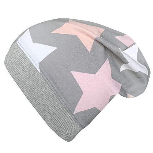 Wollhuhn ÖKO Leichte Beanie-Mütze Big Stars grau/rosa/pink, für Mädchen, 20160313, Größe L: KU ab 54 (darüber/Erwachsene)