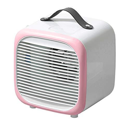 ToDIDAF Tragbare Mini-Klimaanlage mit Griff Multifunktionaler Luftkühler, Desktop-Lüfter, Luftbefeuchter, Luftreiniger, USB-Aufladung, für Zuhause Schlafzimmer Büro Reise BBQ Camping (Rosa)