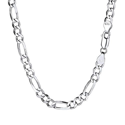 """PROSILVER Chaîne Collier Homme Argent 925 Link Chain Maille Figaro 1+3 Bijoux Simple pour Garçon - Largeur 5mm - Longueur 18""""/46cm Cadeau Parfait"""