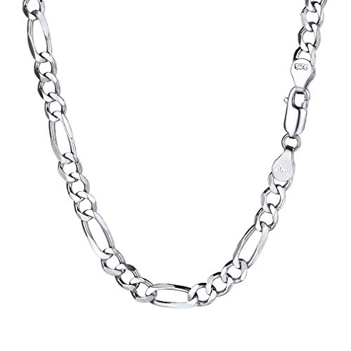 PROSTEEL Men Silver Figaro Necklace Chain 5mm 18Inch Male