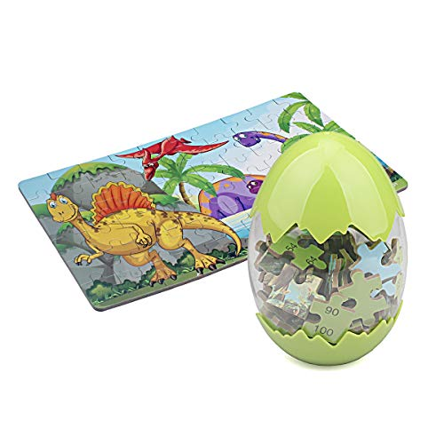 Kids Puzzle,5-12 Years Old Dinosaur Puzzle, with Dinosaur Egg Container, 60 Pieces of Thick Compressed Wooden Board Puzzle(9001)