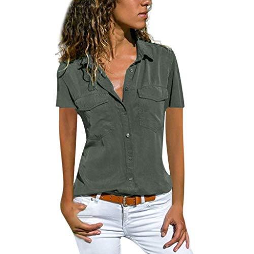 VEMOW Blusas Camisetas Mujeres Manga Corta Suelta Manga Corta Cuello Bolsillos Botones Tops(Gris,XL)