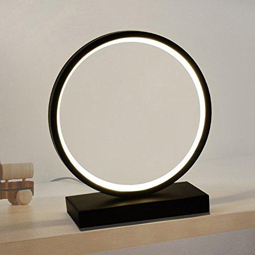 Nordic kreative LED-Kreis Aluminium Tischlampe, Nachttischlampe, modernes einfaches Wohnzimmer Arbeitszimmer Schreibtischlampe, schwarz und weiß (Farbe : Weiß-White light)