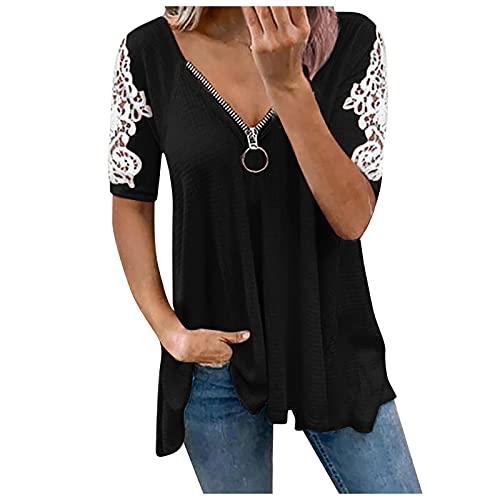 T-Shirt Damen Sexy V-Ausschnitt Reißverschluss Kurzarm Oberteile Sommer Casual Spitze Tshirt Top große größen Elegant Bluse Pullover für Frauen Teenager Mädchen Streetwear Tunika Tops