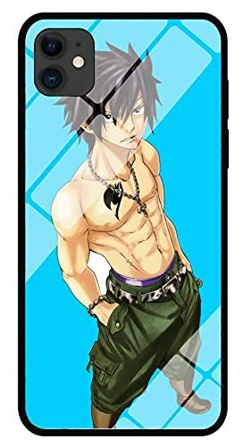 Estuche para Teléfono con Imagen De Anime Fairy Tail Estuche para iPhone con Brillo Nocturno Carcasa Protectora De Vidrio Templado Moda Cool Compatible con iPhone XR