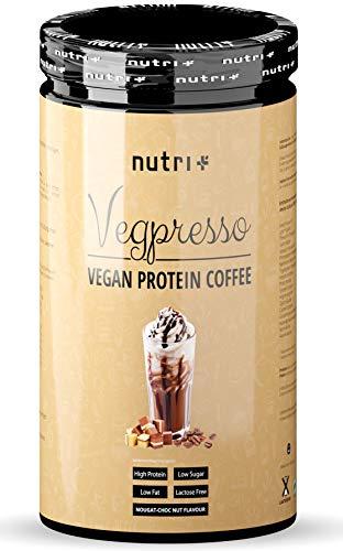 PROTEIN COFFEE Nuss Nougat - Nutri-Plus Vegpresso Eiweißkaffee mit Koffein - Proteinkaffee mit Proteinpulver - ohne Laktose und Gluten - mit viel Eiweiß ideal zum Muskelaufbau