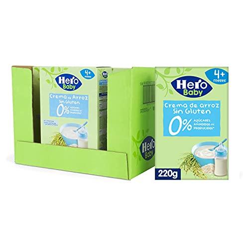 Hero Baby Papilla de Crema de Arroz - Para Bebés a Partir de los 4 Meses - Pack de 6 x 220 g