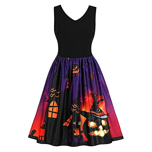 Reooly◕‿◕Vestido sin Mangas de Las Mujeres oscilación de la Vendimia de Las Calabazas de Halloween del Traje de Noche de Baile