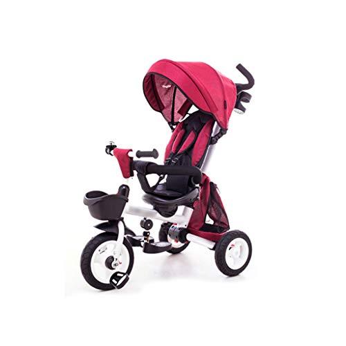 BLWX - Kinder dreirädriges Fahrrad faltendes Baby 1-3-5 Jahre Alter Trolley-selbstfahrender Kinderwagen-Leichter Wagen Kinderwagen (Farbe : Red)