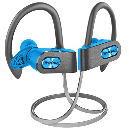 Mpow FLAME2 Bluetooth Headphones Sport, 12Hrs & Bluetooth 5.0 Wireless Sport Earphones, IPX7 Waterproof Running Headphones W/CVC 6.0 Noise Cancelling Mic, Bluetooth Earphones w/Comfort-Slantin, Blue