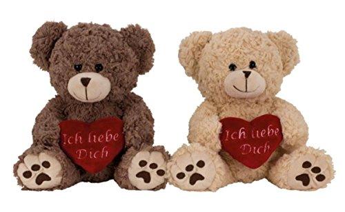 Geschenkestadl 2er Set Plüschtier Bär 25 cm rotes Herz Ich Liebe Dich Kuscheltier Stofftier Teddy