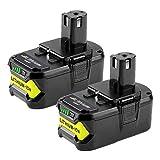 2 X Hochstern 18V 5,5Ah Batterie de Remplacement pour Ryobi One+ RB18L50 RB18L40 RB18L25 RB18L13 P108 P107 P122 P104 P105 P102 P103 Outils compacts sans fil
