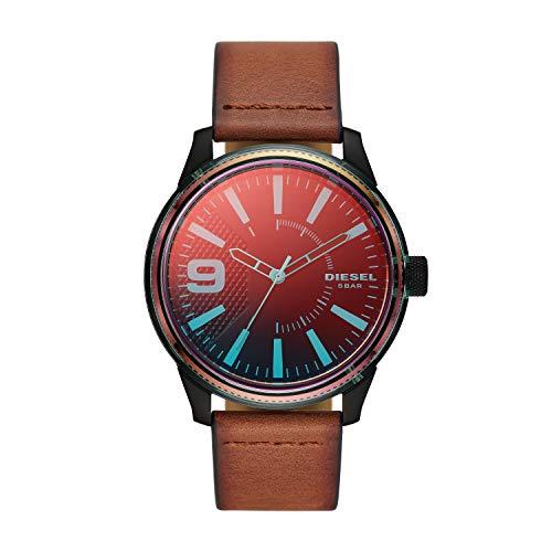 Diesel Men's RASP NSBB Stainless Steel Quartz Watch with Leather Strap, Brown, 24 (Model: DZ1876)