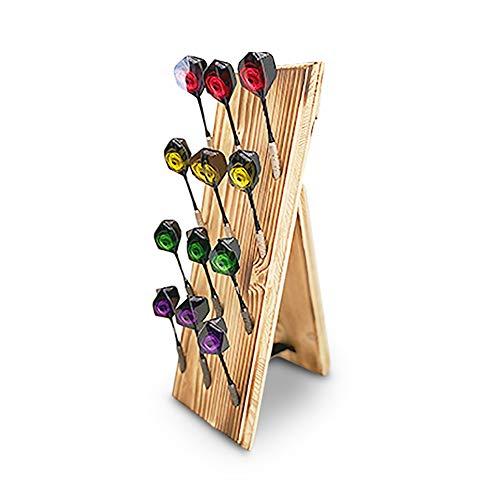 RUNSTYLE Premium Holz Dart Display | Dartpfeile Halterung - Ablage mit Standfunktion & Wandhalterung | bietet Platz für 12 Pfeile | Soft-Dartpfeile/Steel- E - Dartpfeile
