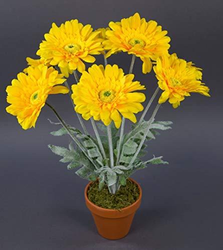 Seidenblumen Roß Gerbera 45cm gelb im Topf LM Kunstpflanzen Kunstblumen künstliche Pflanzen Blumen