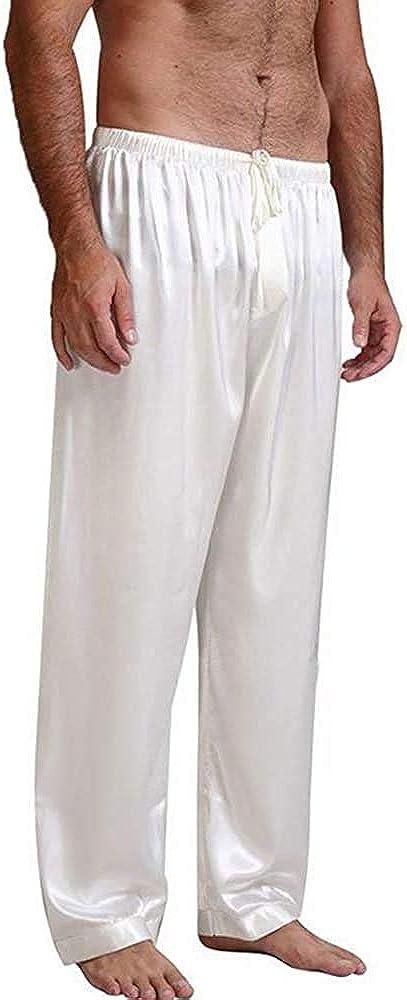 Men's Satin Pajama Pants, Sleepwear Long Pajama Bottoms with Drawstring Loungwear Pjs Pants