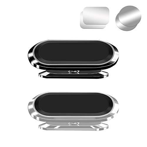 Wenearn 2 Pezzi Supporto Magnetico per Auto per Telefono, Super Magnete Regolabile a 360 ° Staffa Cellulare, Antiscivolo Forte Legame Porta Smartphone per Auto Universale (Nero + Argento)