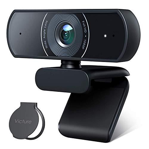Victure 1080P Webcam mit Sichtschutz Streaming USB Kamera mit Zwei Stereo Mikrofonen Plug and Play Kamera fur Aufnahme und Konferenz kompatibel mit Windows und Mac