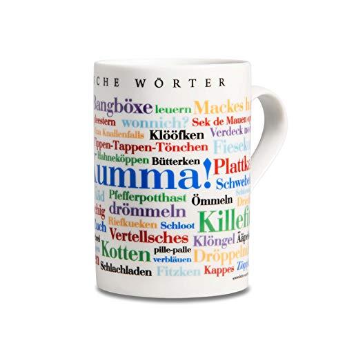 Tasse Bergische Wörter, Mundart-Kaffeebecher mit Dialekt aus dem Bergischen Land als Souvenir oder Geschenkidee, mehrfarbig