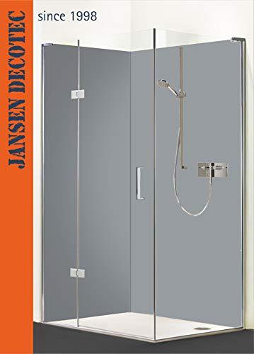 Eck - Duschrückwand, 2 Segmente je 90x200cm, Farbe: Hellgrau - KOSTENLOSER Zuschnitt auf Ihr Wunschformat !