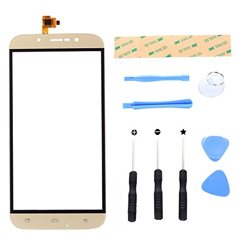 Lusee Digitizer Bildschirm für UMI Rome/Rome X 5.5 Vorderseite Ersatz Touch Screen Display Reparatur Touchscreen Glas Replacement Front Komplettes Glas Touch Panel mit Werkzeug Set Gold