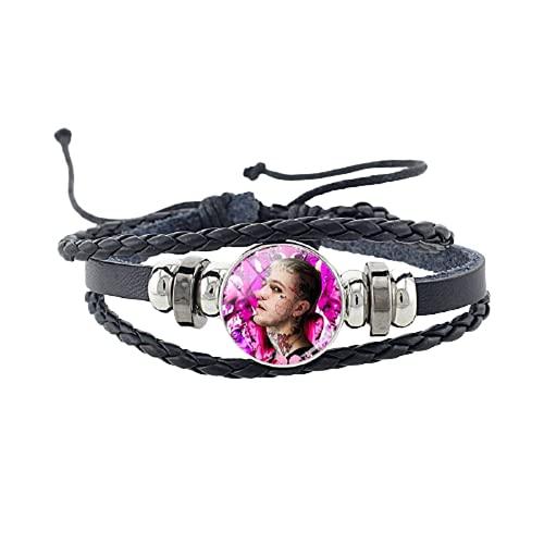 Lil Peep Hellboy Life is Beautiful Armband schwarzes Lederarmband 18 mm runder Metallknopf Damen Herren Schmuck