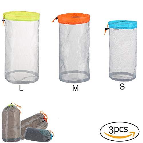 3 bolsas de almacenamiento con cordón de sujeción de nailon, para viajes, camping, senderismo (S + M + L)