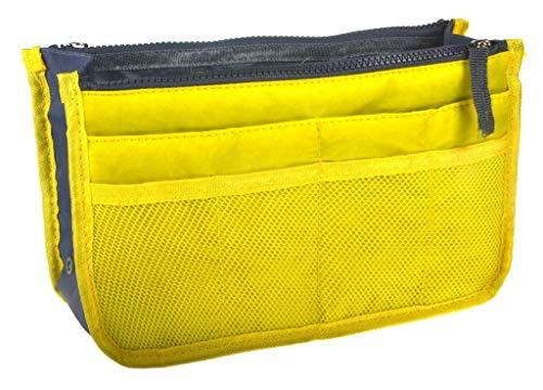 Ducomi Organizador de Bolsos Expandible con 13 Compartimientos Grandes - Estuche Interior para Bolsos para Almacenar Maquillaje, Documentos y Teléfonos - Amplio y Bolsillos (Standard, Yellow)