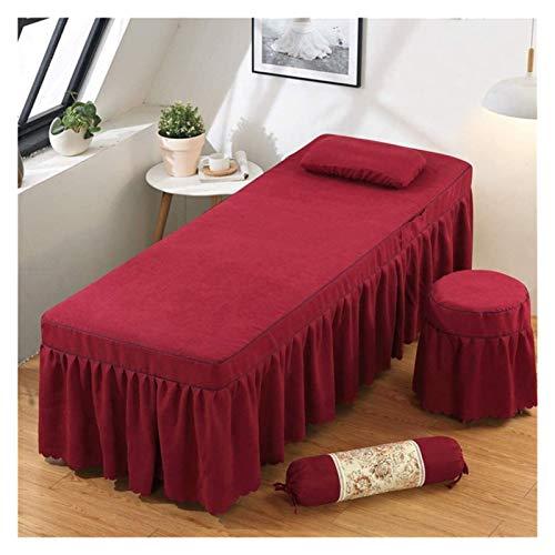 Juego de colcha de masaje de 4 piezas Cubiertas de encaje de 4 PC de color nórdico de color sólido para salón de belleza Hoja de falda de spa + cubierta de manta + funda de almohada + cubierta de sill