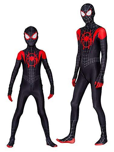 Spiderman Costume Carnevale Spider Man Nuovo Universo Animazione Cosplay SPM016 C (Tuta+Cappuccio Taglia 140)