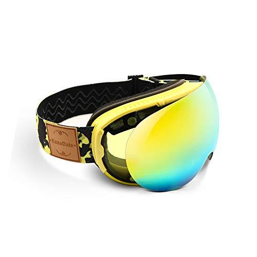 EnzoDate Gafas de esquí 2 en 1 con lente magnética de doble uso Gafas de sol de snowboard antivaho UV400 para esquí nocturno