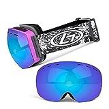 Winter Skibrille Anti-Fog Uv400 Schutz Brillen Sphärische Bunte Blaue Linse 2 Schichten Frameless Schneesportbrillen Für Erwachsene