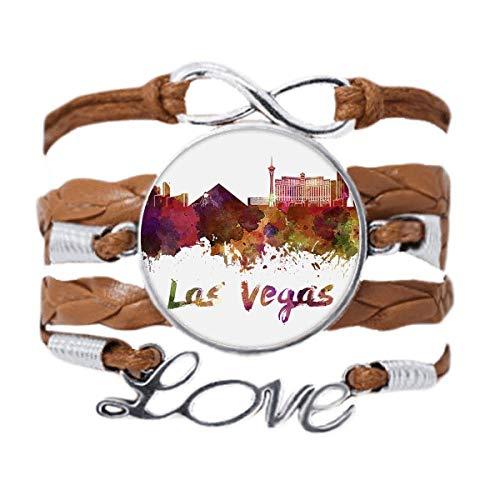 DIYthinker Las Vegas America City Watercolor Bracelet Love Chain Rope Ornament Wristband Gift