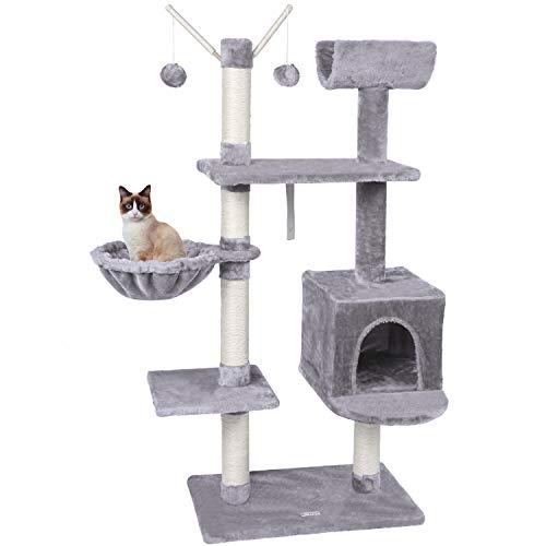 MC Star Hellgrau Katzenbaum Katzenkratzbaum Kletterbaum 131cm Hoch für Katzen Kätzchen mit Katzenhöhle Hängematte Plüsch Bälle Anti-Kipp-Beschläge