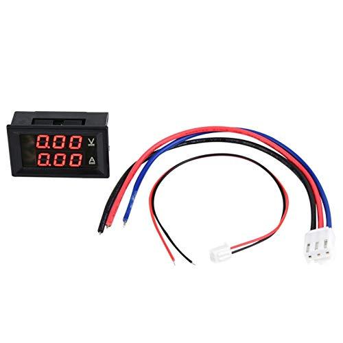 Oumefar 0-100V voltímetro amperímetro multímetro Digital Pantalla Voltaje CC medidor de Corriente medidor de Panel LED Doble(Font Backlight Red and Blue 10A)