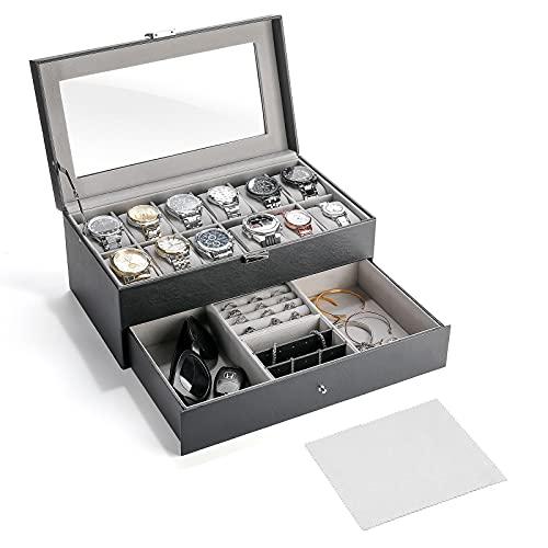 ProCase Caja de Relojes con 12 Compartimentos y 1 Cajón, Estuche Relojero Organizador de Cuero PU Exterior y Terciopelo Interior Ideal para Relojes,Gafas de Sol,Joyas Brazaletes Collares Anill