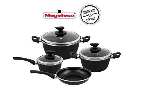 Magefesa - Batería de cocina FIT, acero esmaltado, color negro, con antiadherente bicapa reforzado. Apta para todo tipo de cocinas, incluida inducción.