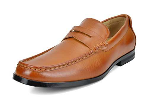 BRUNO MARC NEW YORK Bruno Marc Men's Harry-02 Tan PU Dress Penny Loafers Shoes – 9.5 M US