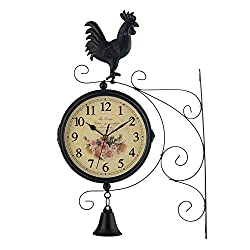 MagiDeal Vintage-Inspired Double Sided Wall Clock Wrought Iron Antique-Look Wall Hanging Two Faces Retro Station Clock with 360 Degree Rotation Home Decor