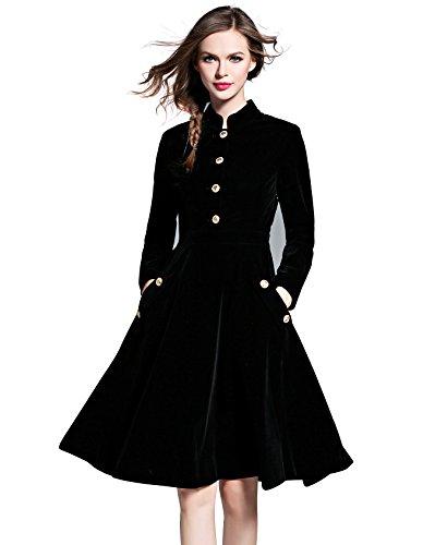 LAI MENG Swing Damen Elegant Skaterkleid A-Linie Kleid Lange Ärmel Corduroy Winter/Frühlingkleid Partykleid Knielang- Gr. 38 (L), Schwarz
