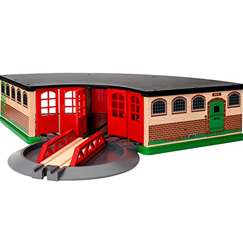 BRIO World 33736 Großer Ringlokschuppen mit Drehscheibe – Zubehör für die BRIO Holzeisenbahn – Kleinkinderspielzeug empfohlen ab 3 Jahren