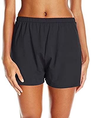 Maxine Of Hollywood Women's 2'' Loose Fit Mid Rise Swim Shorts, Black, 16