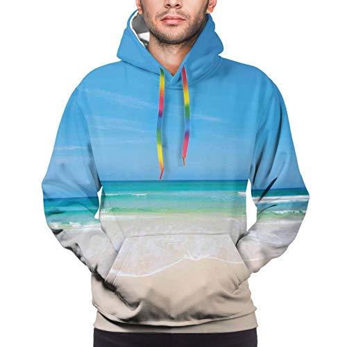 Men's Hoodies Sweatshirts,Summer Sandy Paradise Beach Sea and Sunny Sky Scene Secret Dream Space Nature Image,Small