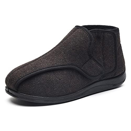 Zapatillas diabéticas de espuma viscoelástica para hombre con cierres ajustables Ancho extra ancho cómodo artritis edema hinchado casa zapatos interior/exterior marrón rayas-39