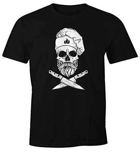 MoonWorks® Herren T-Shirt Grillen Koch Totenkopf Messer Hipster Skull Chef Grill-Shirt schwarz XXL