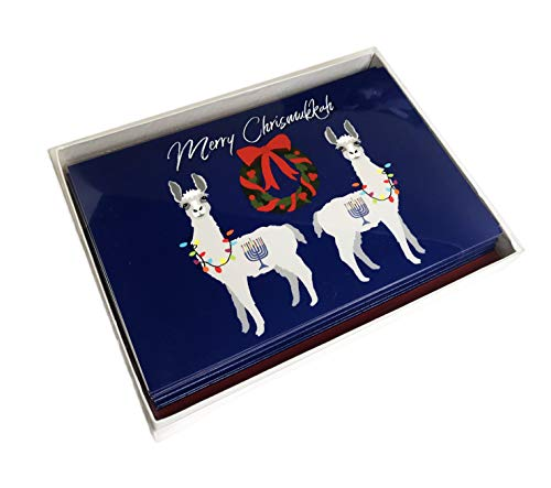 Merry Chrismukkah Festive Interfaith Christmas Hanukkah Llamas Box of 10 Holiday Greeting Cards & Envelopes