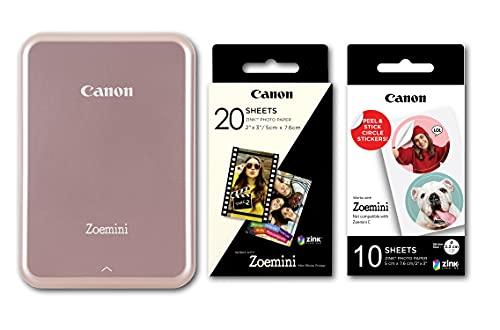 Canon Zoemini Mini Printing Kit Fotodrucker + Fotopapier 20 Stk ZINK ZP-2030 + 10 Circle Sticker (Mobiler Sofortdruck, Bluetooth, 5 x 7,5 cm Fotos, Akku, tintenfrei, iOS, Android, Printapp), rose gold