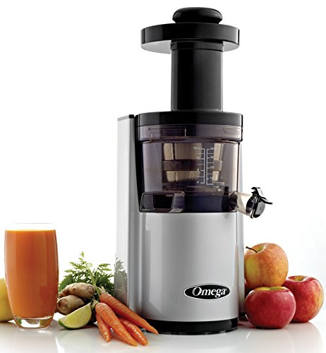 Omega VSJ843RS Vertical Slow Masticating Juicer Makes Continuous Fresh Fruit and Vegetable Juice at 43 Revolutions per Minute Features Compact Design Automatic Pulp Ejection, 150-Watt, Silver