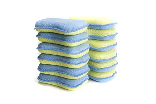 LTWHOME Double Face éponges Microfibre de Cuisine de Tampons à Récurer pour Les poêlons antiadhésifs, Grattante Non Odor Brosse à Plat Antiadhésif, Jaune (Paquet de 12)